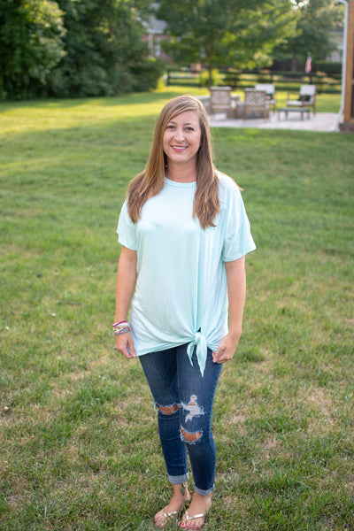 Light Aqua Tie Top