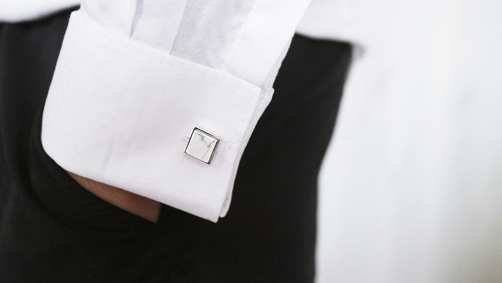 Featured: Howlite Square Rim Cufflinks