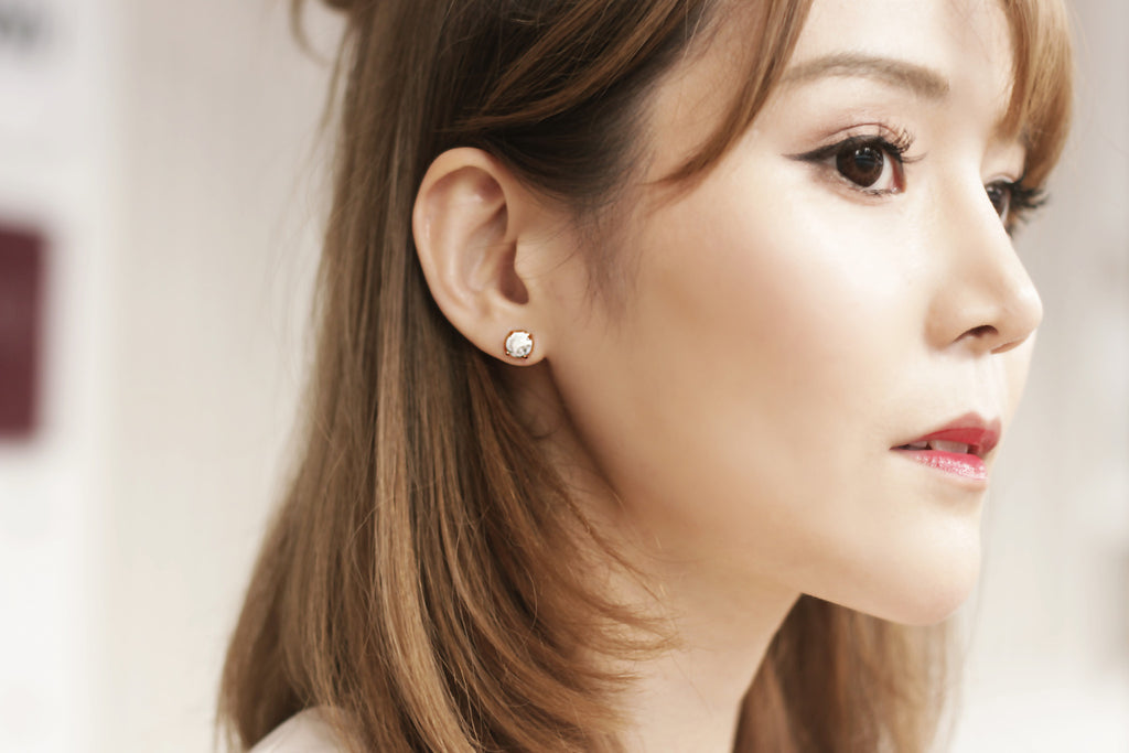 Featured: Howlite 18k Rose Gold-plated Earstuds