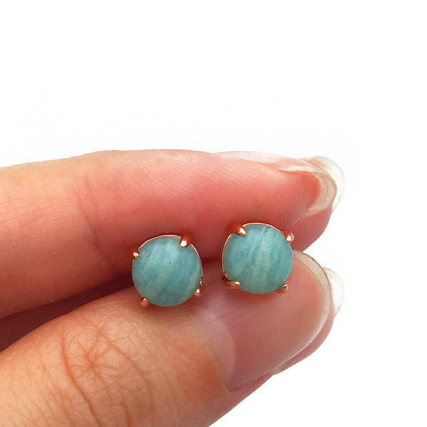 Amazonite 18k Rose Gold-plated Earstuds - Shop ROCKUP