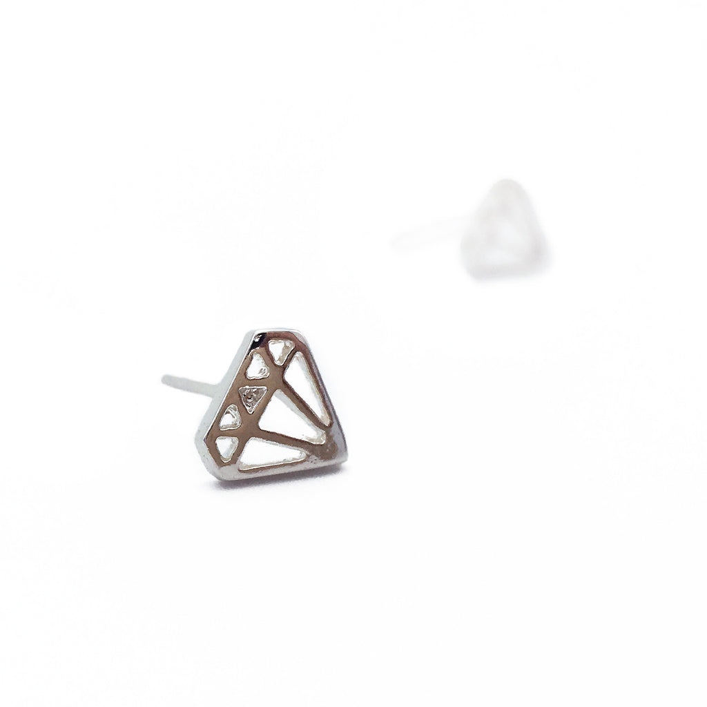 Geometric Diamond Earstuds - Silver - Shop ROCKUP