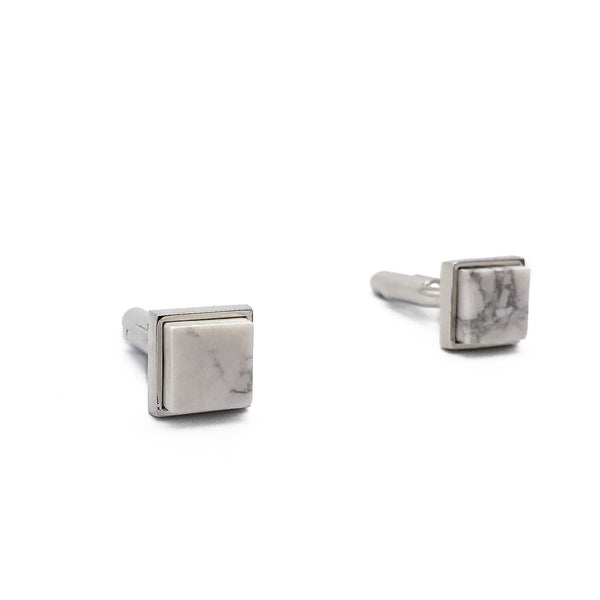 Howlite Square Rim Cufflinks - Shop ROCKUP