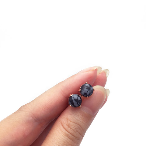 Snowflake Obsidian 18k Rose Gold-plated Earstuds - Shop ROCKUP