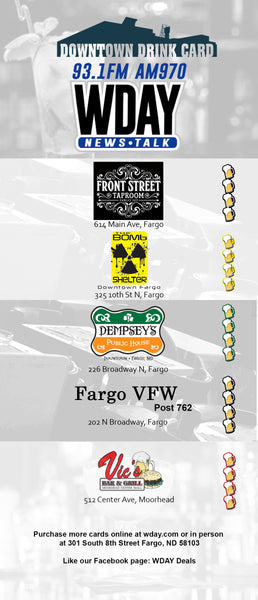 2019-2020 WDAY Downtown Drink Card