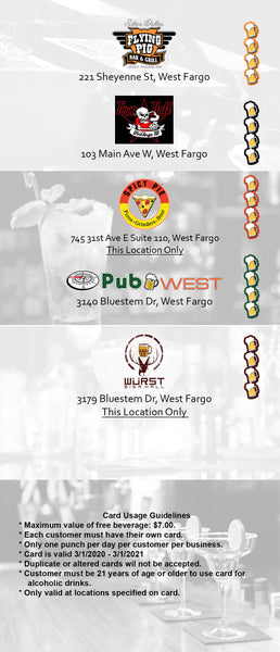 2020-2021 WDAY West Fargo Drink Card