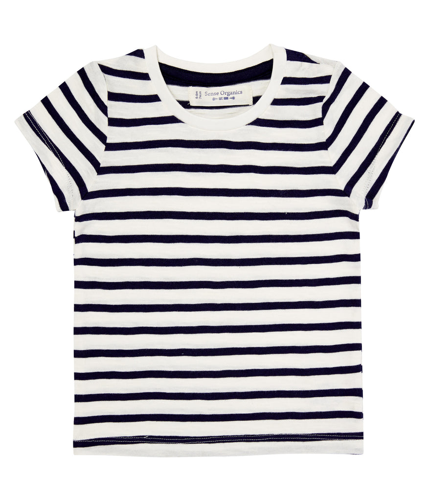 Sense Organics - Short Sleeves Baby T-Shirt Navy Stripes – Tiny Seedling  Organics