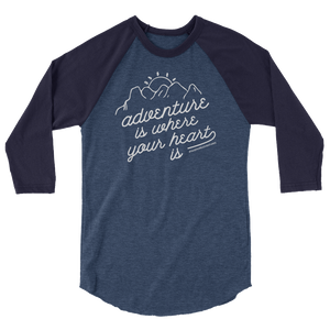"The ""Adventure is..."" 3/4 Sleeve (Heather Denim/Navy)"