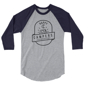 "The ""Happy Campers"" - 3/4 Sleeve (Heather Grey/Navy)"