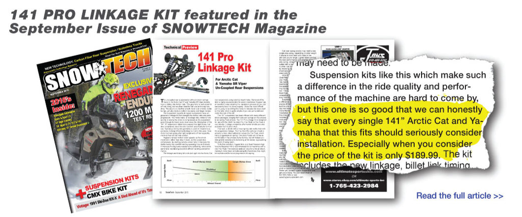 141 Linkage Kit featured in the September Issue of SNOWTECH Magazine.