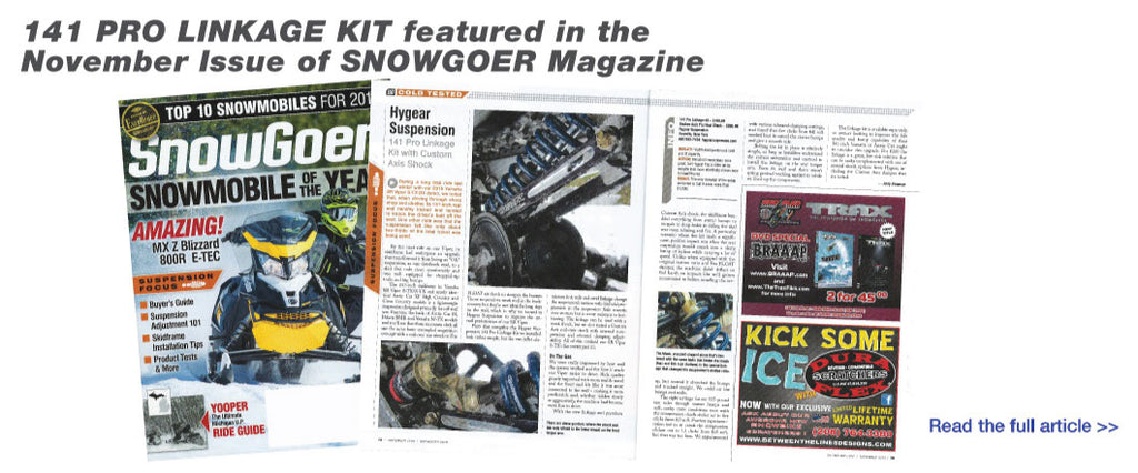 141 Pro Linkage Kit featured in the November Issue of SNOWGOER Magazine