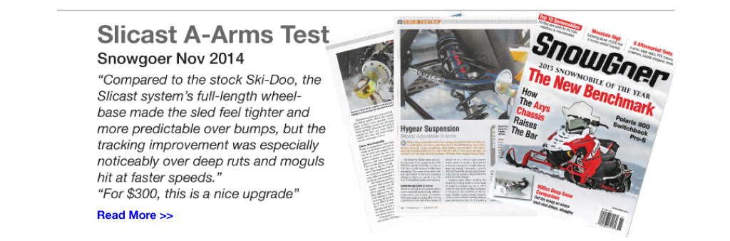 Slicast A-Arms Test SnowGoer Magazine 2014