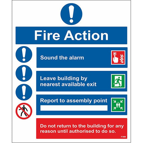 Fire Action Sign - Safety Signs & Stickers | Borehamwood Signs