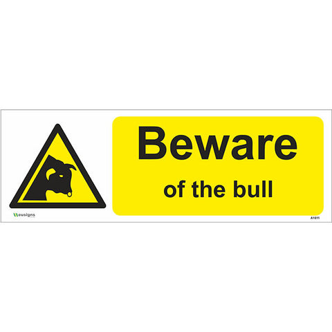 Beware Of The Bull Sign - Heath and Safety Signs|Warning Signs|Emergency Signs|Fire Exit|Hazard Signs|Safety|Stickers|Borehamwood Signs