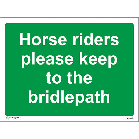 Horse Riders Please Keep To The Bridlepath Sign - Safety Signs & Stickers | Borehamwood Signs