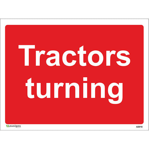 Tractors Turning Sign - Safety Signs & Stickers | Borehamwood Signs