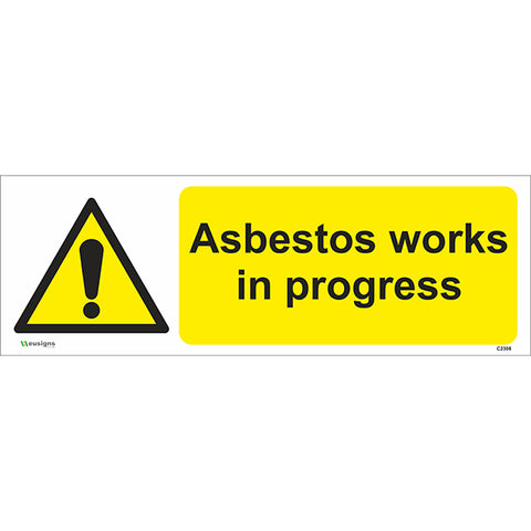 Asbestos Works In Progress Sign - Safety Signs & Stickers | Borehamwood Signs