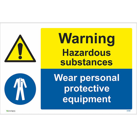 Warning Hazardous Substances Wear Personal Protective Equipment Sign - Safety Signs & Stickers | Borehamwood Signs