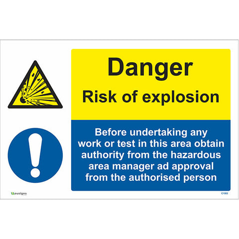 Danger Risk Of Explosion Sign - Safety Signs & Stickers | Borehamwood Signs
