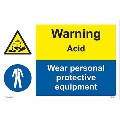 Warning Acid Wear Personal Protective Equipment Sign - Safety Signs & Stickers | Borehamwood Signs
