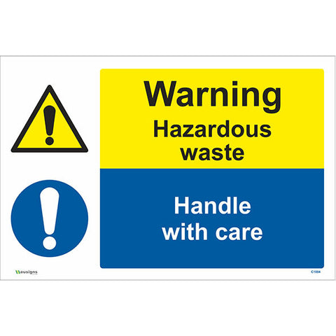 Warning Hazardous Waste Handle With Care Sign - Safety Signs & Stickers | Borehamwood Signs