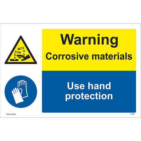 Warning Corrosive Materials Use Hand Protection Sign - Safety Signs & Stickers | Borehamwood Signs