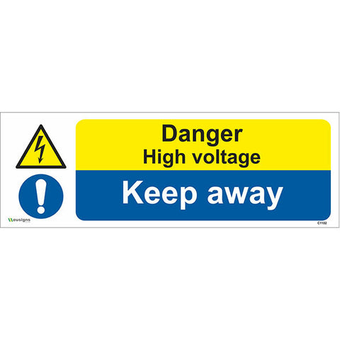 Danger High Voltage Keep Away Sign - Heath and Safety Signs|Warning Signs|Emergency Signs|Fire Exit|Hazard Signs|Safety|Stickers|Borehamwood Signs