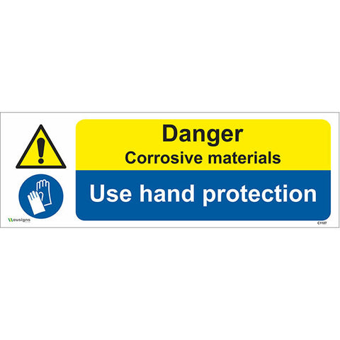 Danger Corrosive Materials Use Hand Protection Sign - Safety Signs & Stickers | Borehamwood Signs