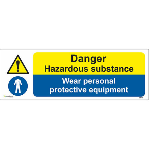Danger Hazardous Substance Wear Personal Protective Equipment Sign - Safety Signs & Stickers | Borehamwood Signs