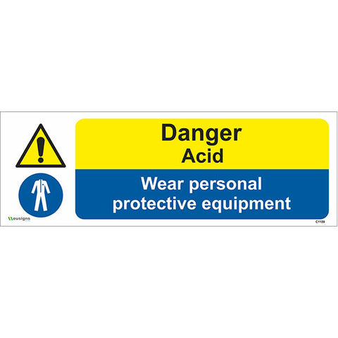 Danger Acid Wear Personal Protective Equipment Sign - Safety Signs & Stickers | Borehamwood Signs