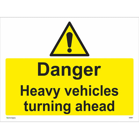 Danger Heavy Vehicles Turning Ahead Sign - Health and Safety Signs