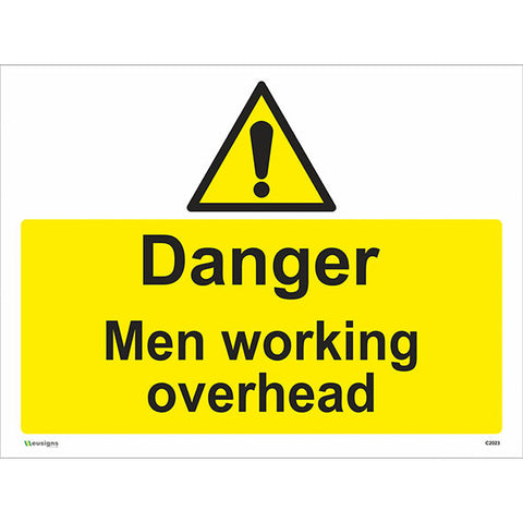 Danger Men Working Overhead Sign - Safety Signs & Stickers | Borehamwood Signs