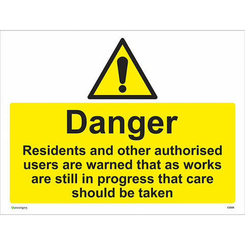 Danger Residents and Other Authorised Users Are Warned Sign - Safety Signs & Stickers | Borehamwood Signs