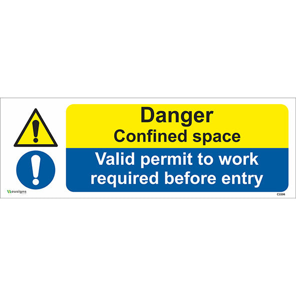 Danger Confined Space/Valid Permit To Work Required Before Entry Sign
