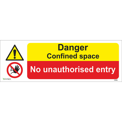 Danger Confined Space/No Unauthorised Entry Sign - Safety Signs & Stickers | Borehamwood Signs