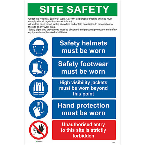 Construction Site Safety Sign / PPE / Unauthorised Entry / 5 Signs in 1 - Health and Safety Signs