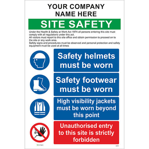 Combined Site Safety Sign With Company Name / PPE/ Un Authorised Entry - Safety Signs & Stickers | Borehamwood Signs