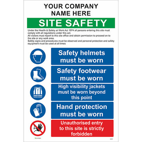 Site Safety Sign With Company Name / PPE / Unauthorised Entry - Safety Signs & Stickers | Borehamwood Signs