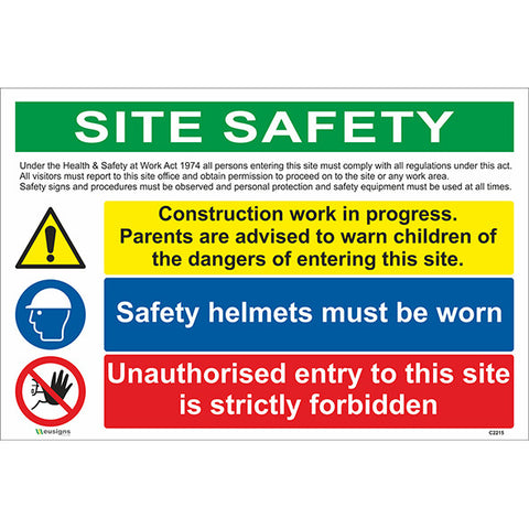 Site Safety/Construction Work in Progress/Safety Helmets Must be Worn/ Unauthorised Entry Sign - Safety Signs & Stickers | Borehamwood Signs