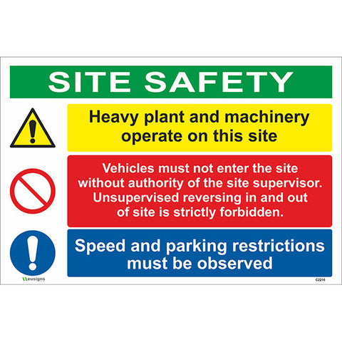 Site Safety/Heavy Plant and Machinery Operate/Vehicles Must Not Enter - Health and Safety Signs