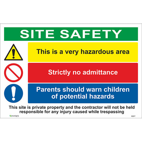 This Is A Hazardous Area/Strictly No Admittance/Parents Should Warn Children Combined Signs - Safety Signs & Stickers | Borehamwood Signs