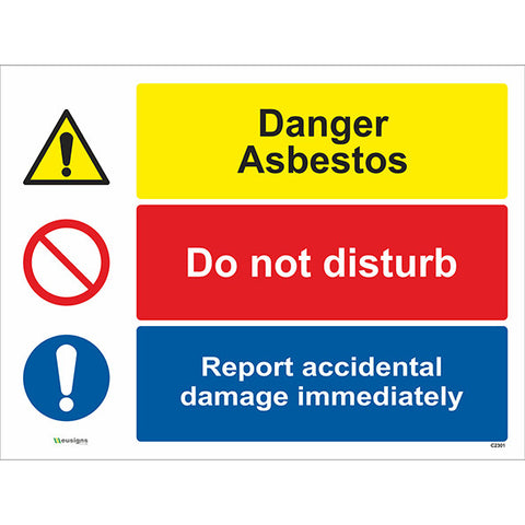 Danger Asbestos/ Do Not Disturb/ Report Accidental Damage Immediately Sign - Safety Signs & Stickers | Borehamwood Signs