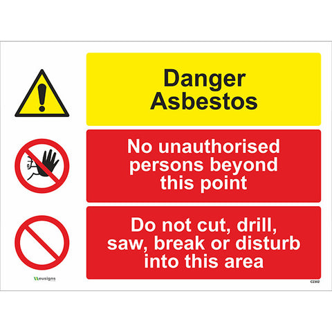 Danger Asbestos/ No Unauthorised Persons/Do Not Cut, Drill, Combined Signs - Safety Signs & Stickers | Borehamwood Signs