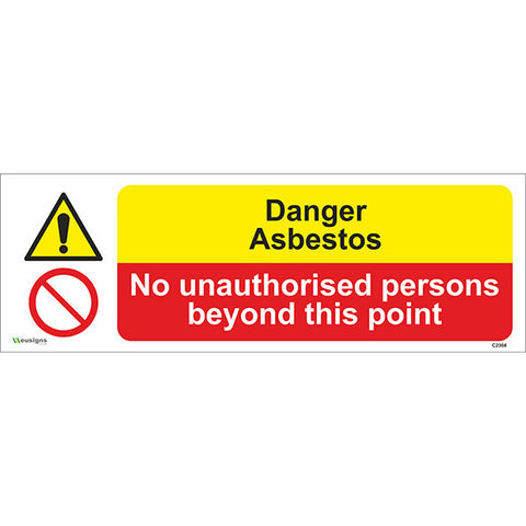 Danger Asbestos / No Unauthorised Persons Beyond This Point Sign - Safety Signs & Stickers | Borehamwood Signs