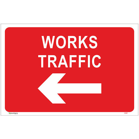 Works Traffic Left Arrow Sign - Safety Signs & Stickers | Borehamwood Signs