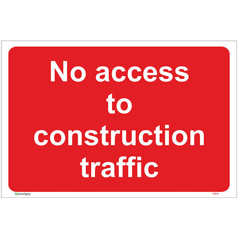 No Access To Construction Traffic Sign - Safety Signs & Stickers | Borehamwood Signs