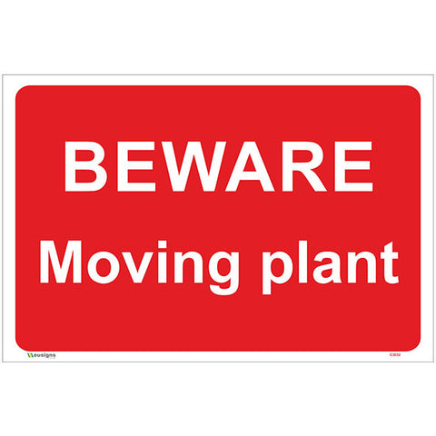 Beware Moving Plant Sign - Safety Signs & Stickers | Borehamwood Signs