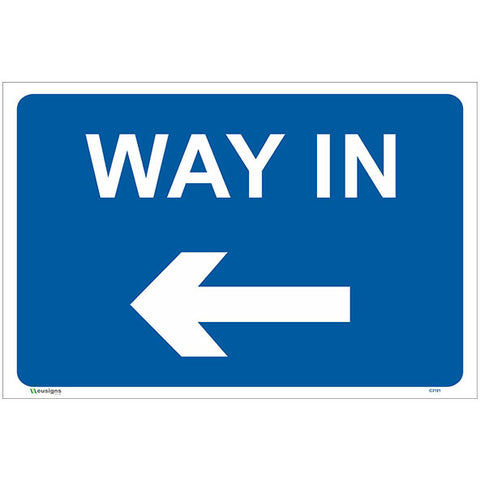 Way In Left Arrow Sign - Safety Signs & Stickers | Borehamwood Signs