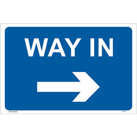 Way In Right Arrow Sign - Safety Signs & Stickers | Borehamwood Signs