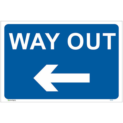Way Out Left Arrow Sign - Safety Signs & Stickers | Borehamwood Signs