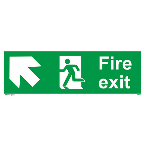 Fire Exit Arrow Up Left Sign - Safety Signs & Stickers | Borehamwood Signs